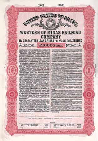 Western of Minas Railroad Co. 5 % Guaranteed Loan of 1893