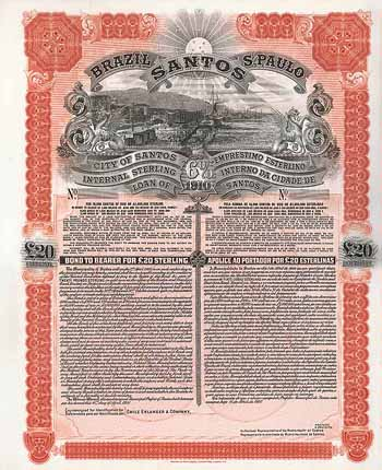 City of Santos 6 % Internal Sterling Loan of 1910